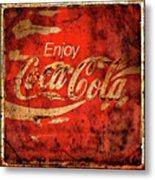 Coca Cola Square Aged Texture Black Border Metal Print