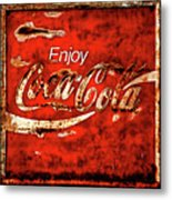 Coca Cola Square Soft Grunge Metal Print