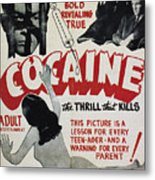 Cocaine Movie Poster, 1940s Metal Print