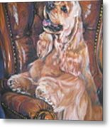 Cocker Spaniel On Chair Metal Print