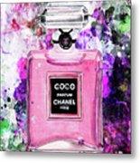 Coco Chanel Parfume Pink Metal Print