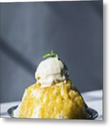 Coconut Sorbet With Mango Sauce And Vanilla Ice Cream Metal Print