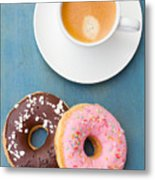 Coffee And Baked Donuts Metal Print