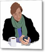 Coffee And Cellphone Metal Print