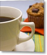 Coffee And Chocolate Muffin Metal Print