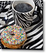 Coffee And Donut On Striped Plate Metal Print