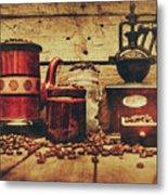 Coffee Bean Grinder Beside Old Pot Metal Print