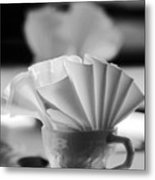 Coffee Cup Black And White Metal Print
