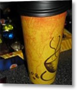 Coffee Cup Series. Yellow And Orange. Metal Print