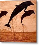 Coffee Painting Dolphins Playing Metal Print