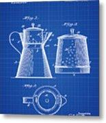 Coffee Pot Patent 1916 Blue Print Metal Print