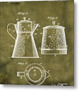 Coffee Pot Patent 1916 Grunge Metal Print