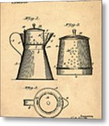 Coffee Pot Patent 1916 Sepia Metal Print