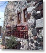Coffee Shop In Santorini Metal Print