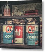 Coffee Tins All In A Row Metal Print