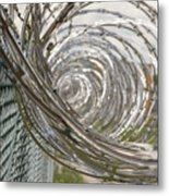 Coiled Razor Wire On Fence Metal Print