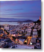 Coit Tower And North Beach At Dusk Metal Print by Photo by Brandon Doran