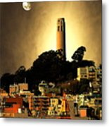 Coit Tower And The Empress Of China Under The Golden Moonlight Metal Print