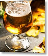 Cold Beer And Delicious Snacks Metal Print