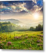 Cold Fog In Mountains On Forest At Sunset Metal Print