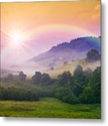 Cold Fog On Hot Sunrise In Mountains Metal Print
