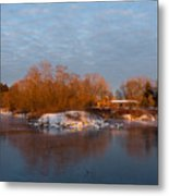 Cold Ice Warm Light - Early Winter Morning On The Lake Shore Metal Print