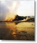 Cold Morning Sunrise At Grand Prismatic Spring Metal Print