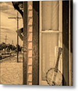 Cold Point Village Station - Banjo Mandolin In Sepia Metal Print