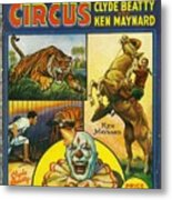 Cole Bros Circus With Clyde Beatty And Ken Maynard Vintage Cover Magazine And Daily Review Metal Print