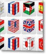 Collage Of Flags Of Different Nation  Metal Print