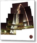 Collage Of Gateway Arch At Night Metal Print