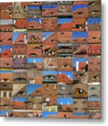Collage Roof And Windows - The City S Eyes Metal Print