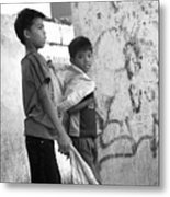 Collecting For Our Rice Metal Print