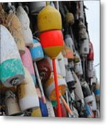 Collection Of  Buoys In Bar Harbor Maine Metal Print