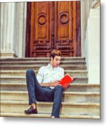 College Student Reading Red Book, Sitting On Stairs, Relaxing Ou Metal Print