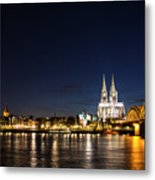Cologne At Night Metal Print by Alexandra-Emily Kokova