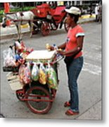Colombia Srteet Cart Metal Print