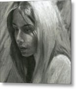 Portrait Of Woman In Charcoal Metal Print