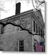 Colonial House With Flag Metal Print