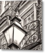 Colonial Lamp And Window Bw Metal Print