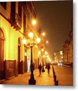 Colonial Street In Central Lima At Night Metal Print