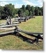 Colonial Zig Zag Fence At Booker T Washingtons Home Metal Print