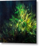Color Oil Painting Green Plant On Dark Blue Background Metal Print