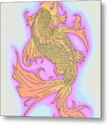 Color Sketch Koi Fish Metal Print
