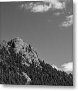 Colorado Buffalo Rock With Waxing Crescent Moon In Bw Metal Print