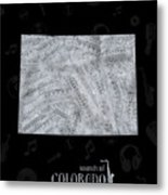 Colorado Map Music Notes 2 Metal Print