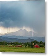 Colorado Rocky Mountain Red Barn Country Storm Metal Print