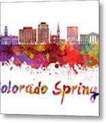 Colorado Springs V2 Skyline In Watercolor Metal Print