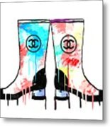 Colored Chanel Boots Metal Print