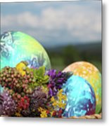 Colored Easter Eggs In Basket And Spring Flowers Metal Print